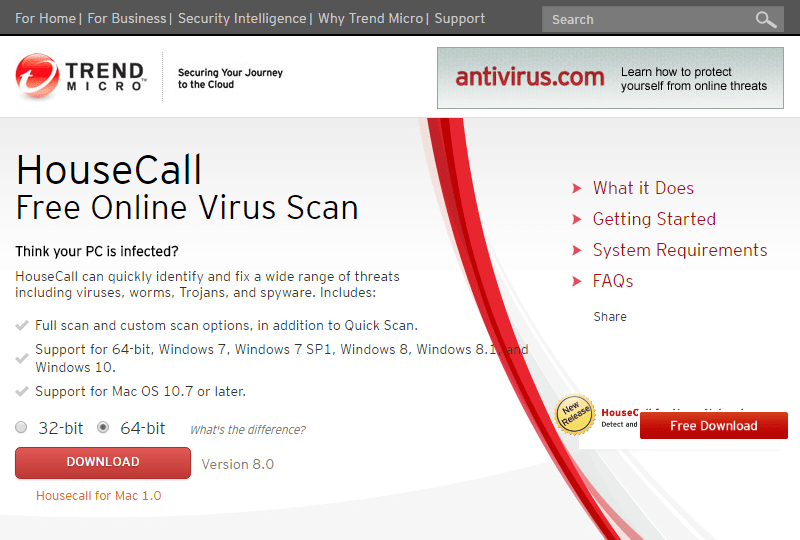 HouseCall Free Online Virus Scan 1