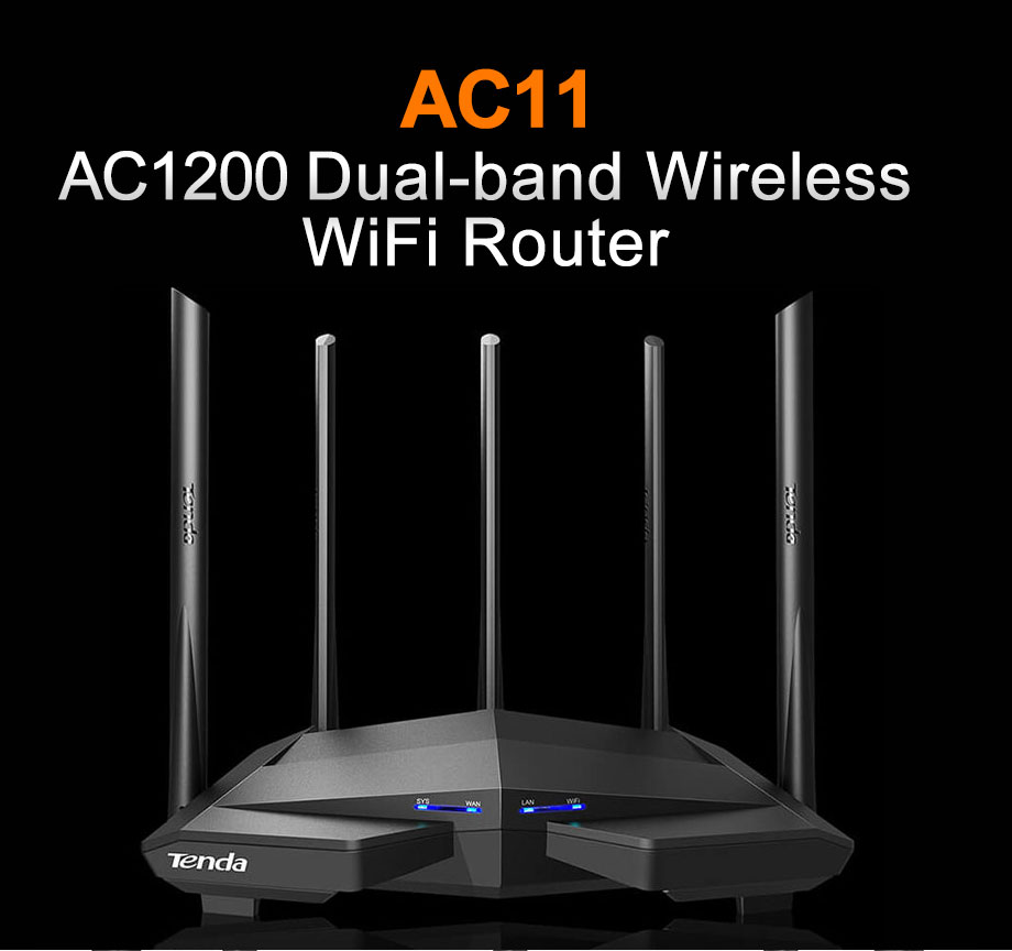 Tenda AC11 Gigabit Dual-Band AC1200 Wi-Fi Router