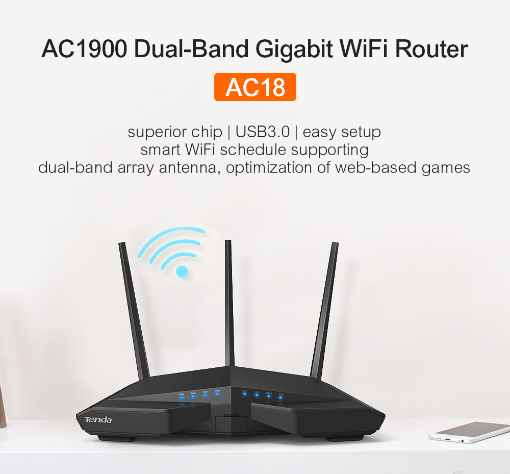 Tenda AC18 Gigabit Dual-Band AC1900 Wi-Fi Router